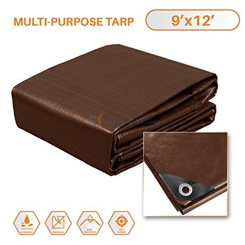 Sunshades Depot 9 x 12 Feet Super Heavy Duty 16 Mil Waterproof Dark Brown Poly Tarp (Pole 12' Plastic)