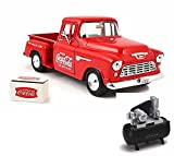 Diecast Car & Air Compressor Package - 1955 Chevy 5100 Stepside Pickup & Cooler, Red - Motorcity Classics 435683 - 1:24 Scale Diecast Model Toy Car w/Air Compressor