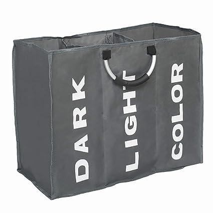 c297eba28 Yooha bolsa de lavandería de gran capacidad, 3 secciones, plegable, tela  Oxford, cesta para la colada, ...