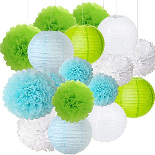 Pack of 18 8'' 10'' Blue Green White Paper Crafts Tissue Paper Flower Balls Lanterns Paper Pom Poms Birthday Wedding Party Decoration]()