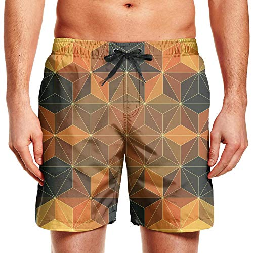 HJianyin Man Dimetric Foursquare Beach Shorts Swim Trunks Beach Pants