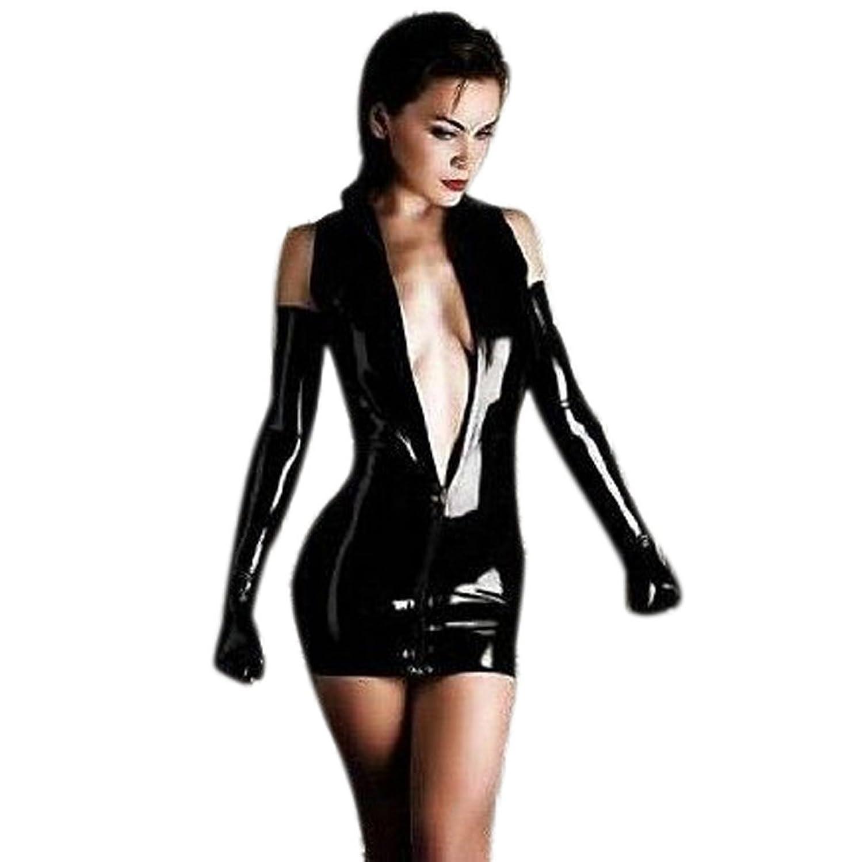Black vinyl gloves long - Amazon Com Shiny Black Dominatrix Dress Mini Skirt With Long Gloves Clothing