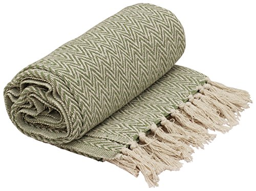(SouvNear Throws - 65 x 52 Inch Hand-Woven 100% Cotton Throw Blanket Lime Green & White Reversible with Tassels Throws for Couch Sofa Chair - Home Decor Furnishings)