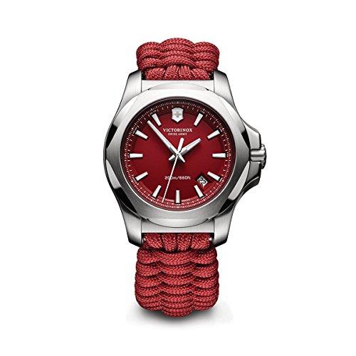 - Victorinox Swiss Army Men's I.N.O.X. Stainless Steel Swiss-Quartz Watch with Nylon Strap, red, 21 (Model: 241744.1)