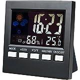 SunJas Termómetro Electrónico Reloj Despertador Digital Estación Meteorológica del Escritorio Colorido de Luz LED Retroiluminación Interior Temperatura Humedad la Fecha del Día Visualización Repetición de Alarma