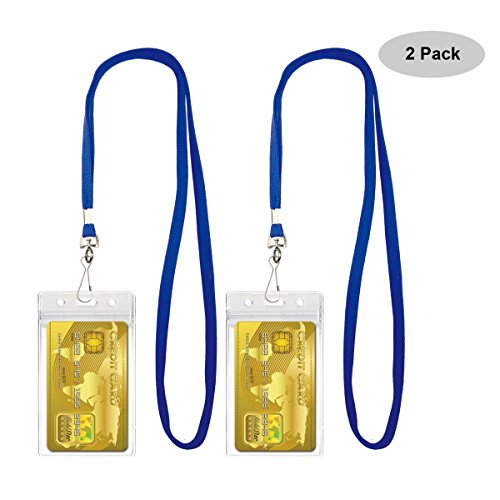 Lanyards with ID Badge Holder Sets Waterproof Type PVC ID Card Holder By (Transparent Badge Holder)