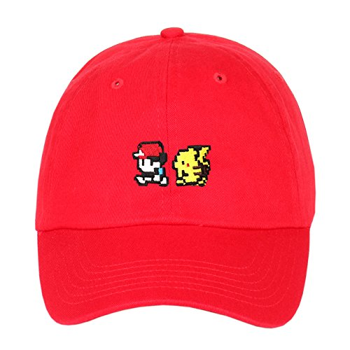 Pokemon Pikachu & Ash Ketchum Embroidered Cotton Low Profile Unstructured Dad Hat (Red)