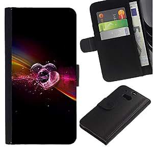 LASTONE PHONE CASE / Lujo Billetera de Cuero Caso del tirón Titular de la tarjeta Flip Carcasa Funda para HTC One M8 / Love Neon
