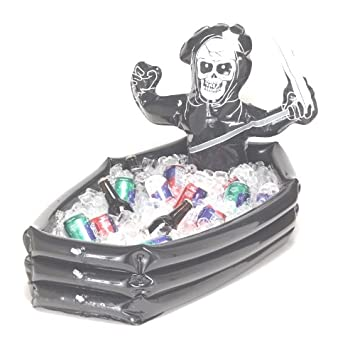 inflatable cooler halloween skeleton in coffin