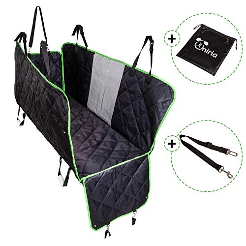 Dog Car Back Seat Cover Hammock with Mesh Viewing Window and Side Flaps. Waterproof, Washable, Nonslip Rear Seat Protector with Seat Belt. 58 x 54""