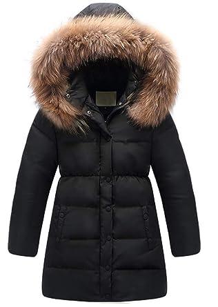 e167199e4 Kedera Big Girls' Winter Parka Down Coat Puffer Jacket Padded Overcoat with  Fur Hood