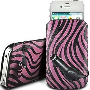 Direct-2-Your-Door - Samsung Galaxy Fame protección PU Zebra Diseño deslizamiento cordón tirador de la cremallera en la caja de la bolsa con cierre rápido y CE Cargador de coche - Rosa
