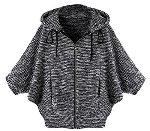 Sheng Xi Women Pin Stripe Pure Color Hood Bat Sleeve Leisure Outwear Jacket Black S
