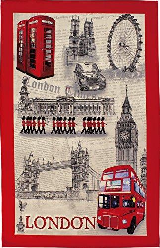 London Souvenir British White and Red Tea Towel with London Landmarks