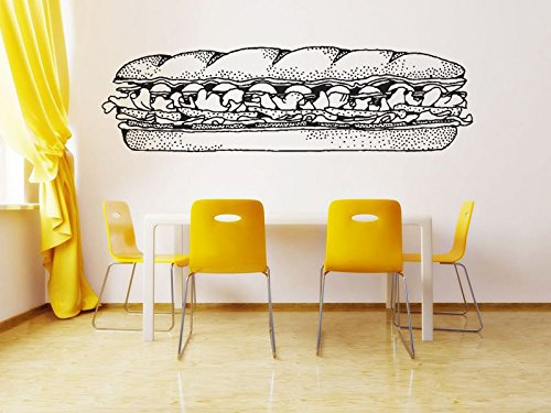 Logo Sandwich - Wall Room Decor Art Vinyl Sticker Mural Decal Sub Sandwich Sign Logo Shop Emblem Restaurant Poster Kitchen Outdoor indoor AS2889
