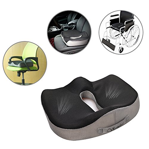 LINGJUN Gel Memory Seat Cushion Anti-Slip Bottom Sitting Pillow for Office Chair Car Seat Cushion by LINGJUN (Image #3)