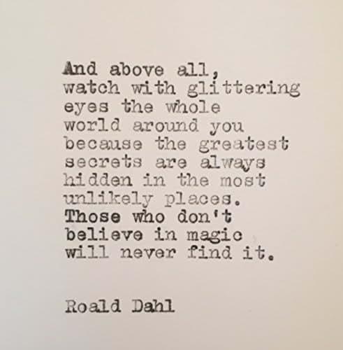 Amazon Com Roald Dahl Magic Quote Hand Typed On Vintage