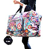 Large Travel Duffel Bag Foldable Large Travel Bag Weekend Bag Checked Bag  Luggage Tote 18 Style 21.6IN x 9.8IN x 13.7IN (cute flower)