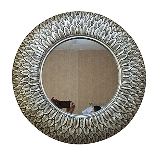 75 Wall Mount Basin - European Retro Round Bathroom Mirror Wall-mounted Washbasin Mirror (Color : Silver)