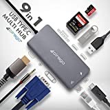 USB C Hub,Cirago 9-in-1 USB C Adapter to 4K HDMI, VGA & Audio, Ethernet, SD/TF Card Reader, 2 USB 3.0 Port, PD 60W Fast Charging Port for MacBook/Pro/Air(2016/17/18), Chromebook and More USB C Devices