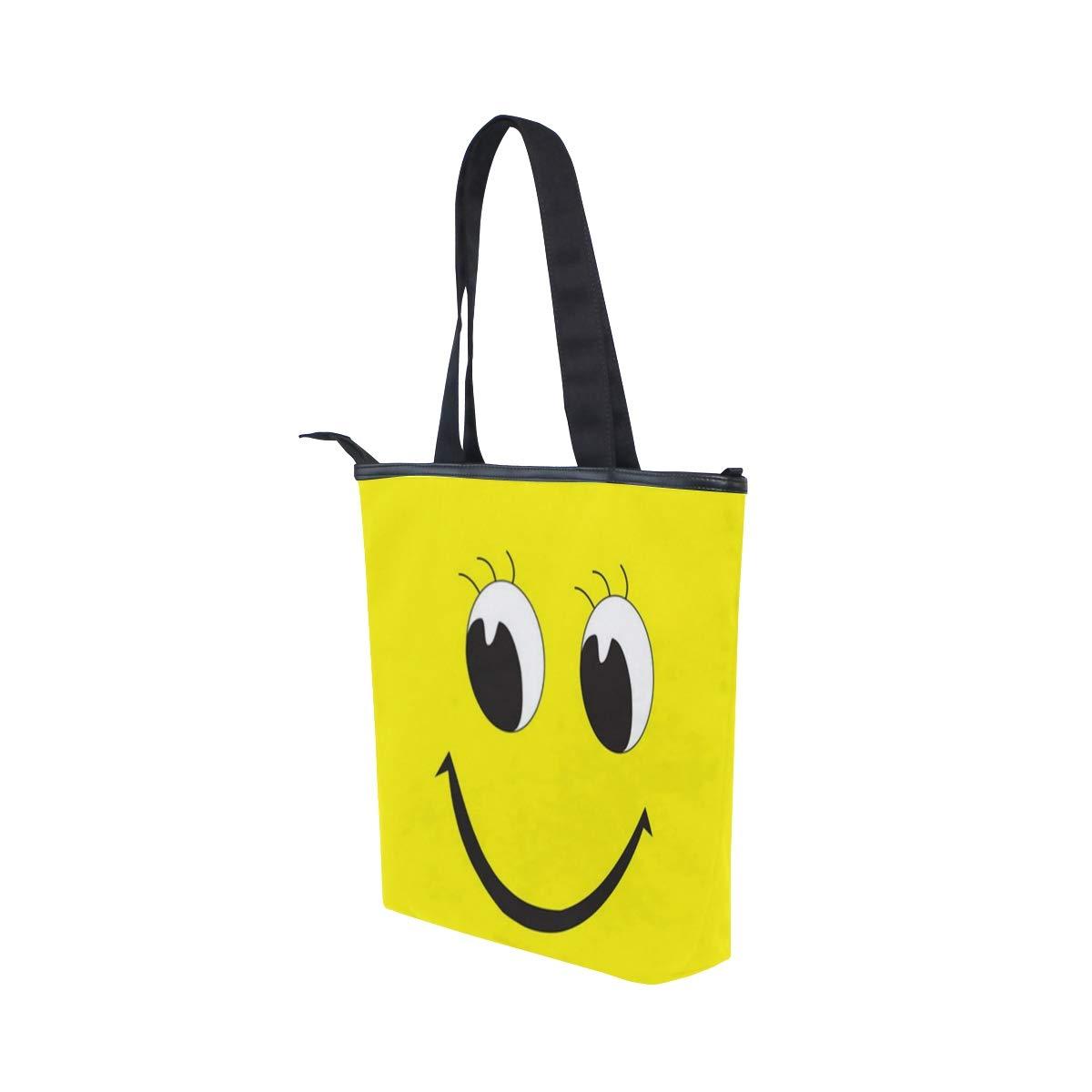 Jacksome Smiley Face Cute Smile Yellow Women Ladies Casual Vintage Hobo Canvas Daily Purse Shoulder Tote Shopper Handbag
