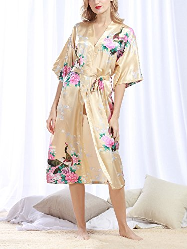 Feoya Mujer Pijama Bata Ropa de Dormir Kimono Largo Estampado Floral y Pavo Robe Sleepwear Champán