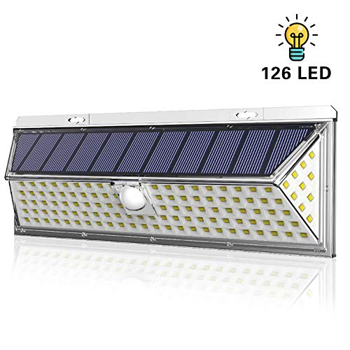Amposei 126 LED Solar Lights Outdoor, Super Bright Solar Motion Sensor Lights with 270°Wide Angle 3 Modes IP65 Waterproof Wireless Security Light Wall Mounted for Garden Deck Yard Garage (1 Pack)