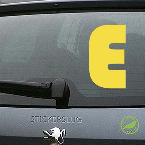 Letter E Font 31 Decal Sticker (yellow, 8 inch) for car truck window glass