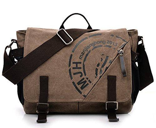 KIPTOP Wasserdicht Umhängetasche Vintage Canvas Leder Messenger Bag Aktentasche Schultertasche 16 Zoll Laptoptasche Notebooktasche aus Canvas und Leder (Leinwand Kuriertasche: Kaffee) Leinwand Kuriertasche: Kaffee