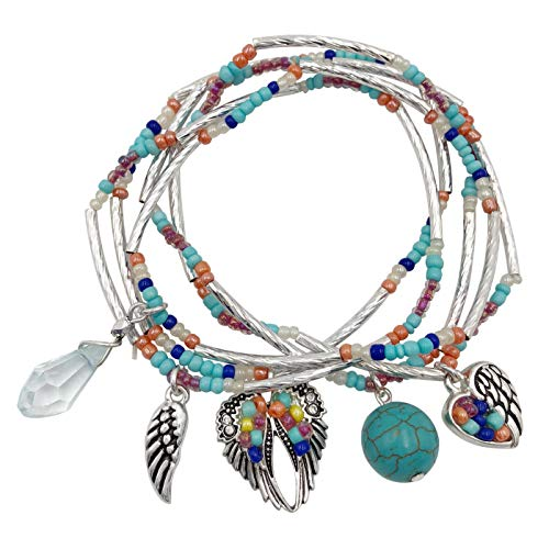 (Gypsy Jewels Multi Color Layered Seed Bead Silver Tone Theme Stretch Bracelet Set (Angel Wing Imitation Turquoise))