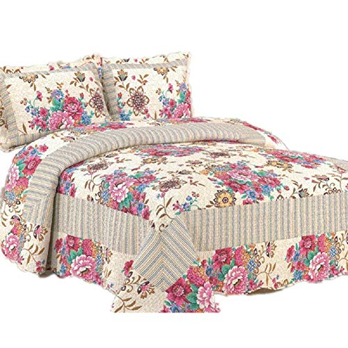 (JYTT Reversible 3 Piece Quilted Coverlet Pillowcases All Seasons Bed Cover Quilt Set All-Season Bedspread Set Embossed Bed Skirts European Style Printed Plush Microfiber Fill Thickened-a Queen1)
