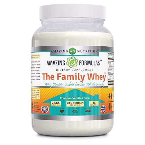 Amazing Formulas 'The Family Whey' – Whey Protein (Isolate) Powder for The Whole Family – 2 lbs – Most Complete & Purest Form of Protein – Gluten Free – All Natural Ingredients-