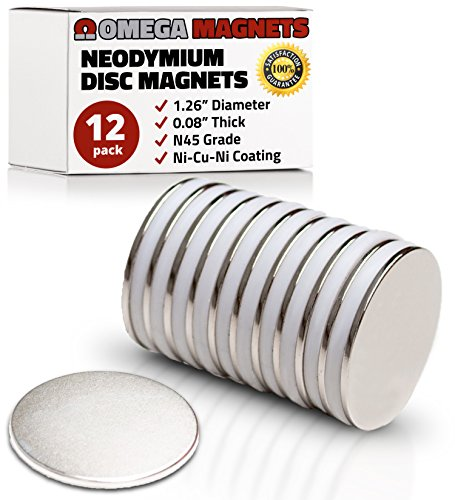 Strong Neodymium Disc Magnets (12 Pack) - Powerful, Small, Round, Rare Earth Magnets - N45 Industrial Strength NdFeB Magnet Set for Fridge, DIY, Crafts - 1.26 x 0.08