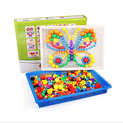 fightingfly Color Matching Mosaic Pegboard Set, Mushrooms Nails, Baby Pile up Toys, Jigsaw Peg Puzzle Games, Early Learning Educational Toys with 550 Pegs for Boys and Girls by fightingfly