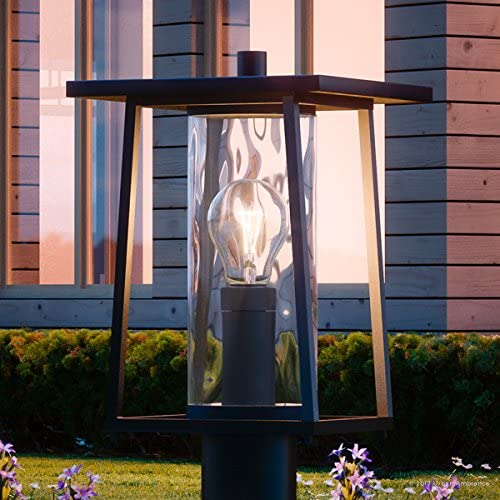Luxury Craftsman Outdoor Post Light, Medium Size 16 H x 9.5 W, with Industrial Style Elements, Cube-Like Showcase Design, High-End Black Silk Finish and Hammered Glass, UQL1093 by Urban Ambiance