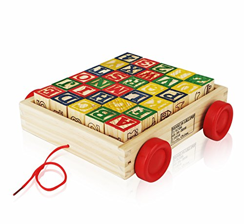 Wooden Alphabet Blocks, Best Wagon ABC Wooden Block Letters Come in a Pull Wagon for Easy Storage and Movement, Most Entertaining Wooden Toy for Toddlers, 30 Pieces Set. (Alphabet Photo Puzzles)