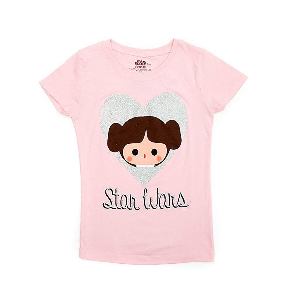 Freeze Kids Girl's Star Wars Princess Leia Silver Glitter Heart T-Shirt
