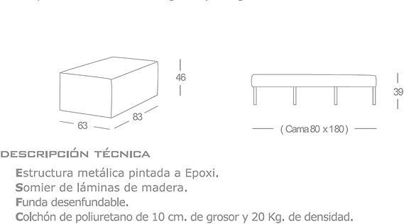 Quality Mobles Plegable, Puff Cama, Arena, Tamaño único