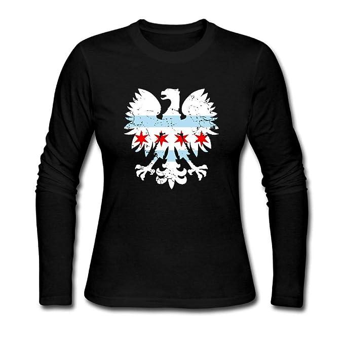 030e0398 Amazon.com: Polish Eagle Chicago Flag Shirt Women's Jersey Long ...