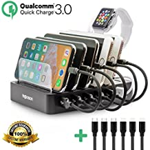 Fast Charging Station Smart 6-Port USB Multiple Docking Organizer iWatch Holder for iPhone iPad Samsung Galaxy Tablet Kindle Speaker Smartphones Apple Watch by higboson (6 Short Cables Included)