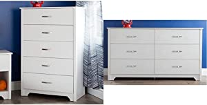 South Shore Fusion 5-Drawer Chest, Pure White & Shore Furniture Fusion Dresser, Pure White
