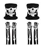 Scafiv Halloween Costume Accessories 2 Skull Face Mask and 2 Pairs Long Skeleton Gloves