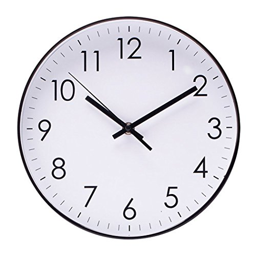 Epy Huts Wall Clock for Living Room Indoor Non-Ticking Silent Quartz Quiet Sweep Movement Wall Clock for Office,Bathroom,Living Room Decorative 10 Inch White (Gold White White Clock)