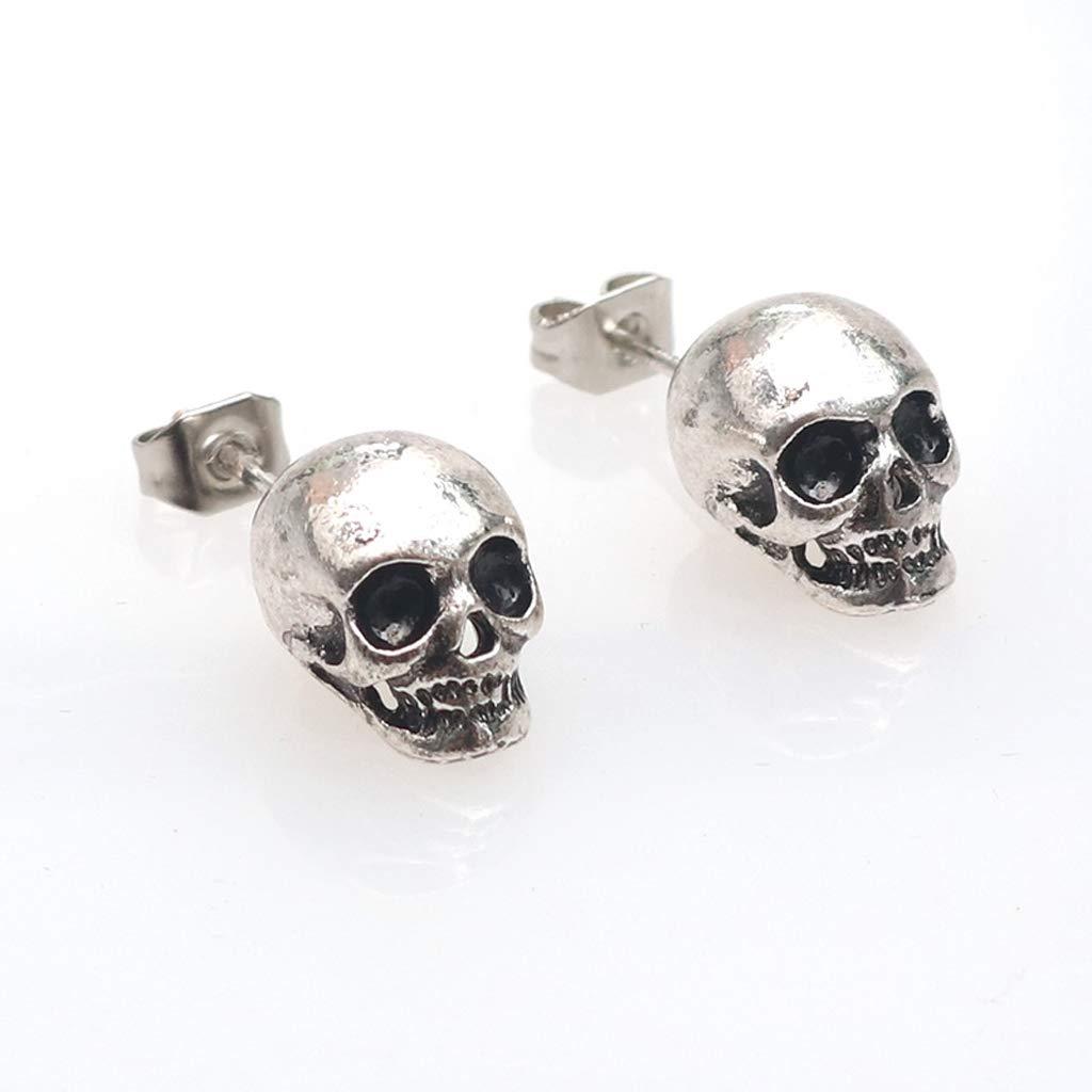 SimpleLif Stainless Steel Skeleton Skull Ear Studs Earrings, Unisex, 1 Pair,11 x 8 mm