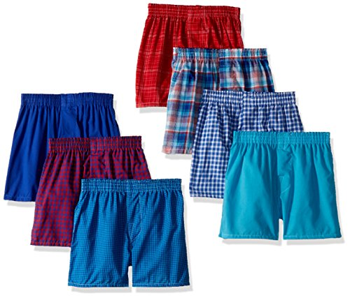 Fruit of the Loom Big Boys' Woven Boxer (Pack of 7), Assorted Plaids, XL
