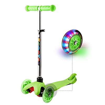 Hikole Scooters for Kids & Toddlers, 3 Wheels Mini Height-Adjustable Kick Scooter with 3 LED Light Up Wheels, Good Gifts for Children Boys Girls 2 to 9 Years Old : Sports & Outdoors