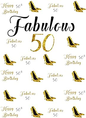 CSFOTO 4x6ft Background For Happy 50th Birthday Party Photography Backdrop Fabulous 50 Gold High Heels Female Bash Ornament Celebration Adult Woman