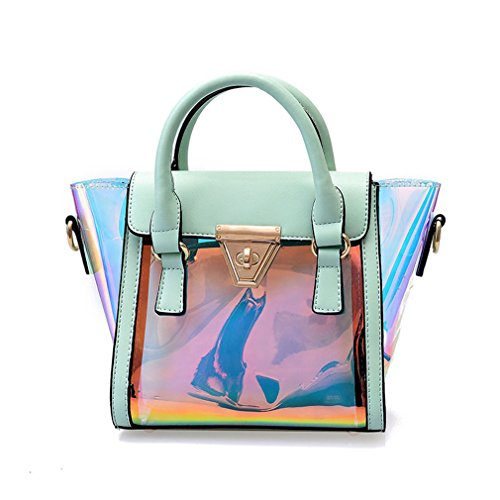 Laser Messenger Bag Candy Mujeres Fashion Jalea Transparent Handbag Bolsas Hombro plástico Hasp Lock Chains Bolsos Green Green