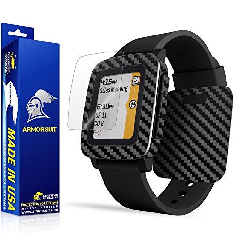 (ArmorSuit Pebble Time Screen Protector MilitaryShield + Black Carbon Fiber Skin Wrap Film Back Protector for Pebble Time)