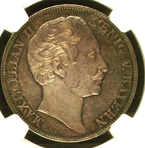 1855 DE German States Bavaria 1855 Silver 2 Gulden Madonn coin MS 63 NGC